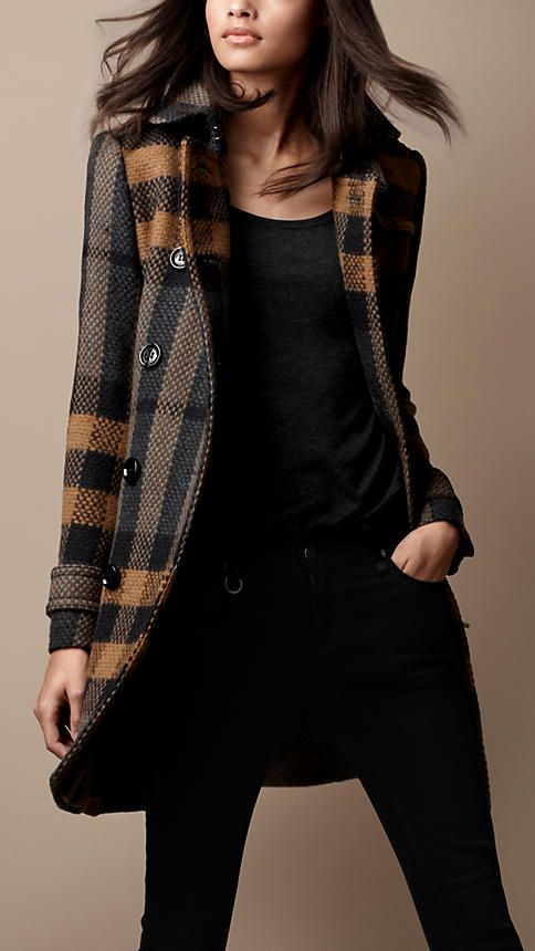 79798f56dc78 Mid-Length Woven Check Wool Trench Coat   Burberry   My Closet ...