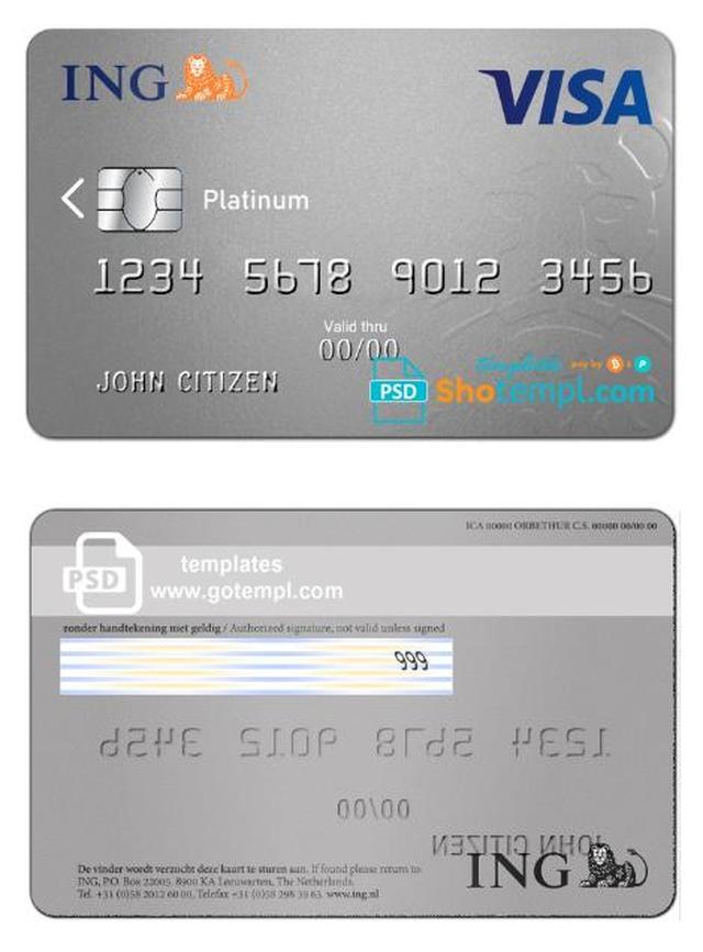 Netherlands Ing Bank Visa Card Template In Psd Format Fully Editable Templates Credit Card Visa Card