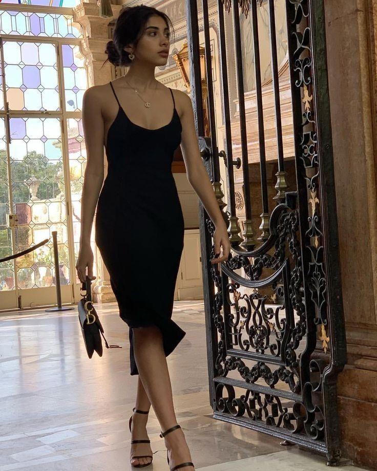 Black silk slip midi dress black Silk slip trends