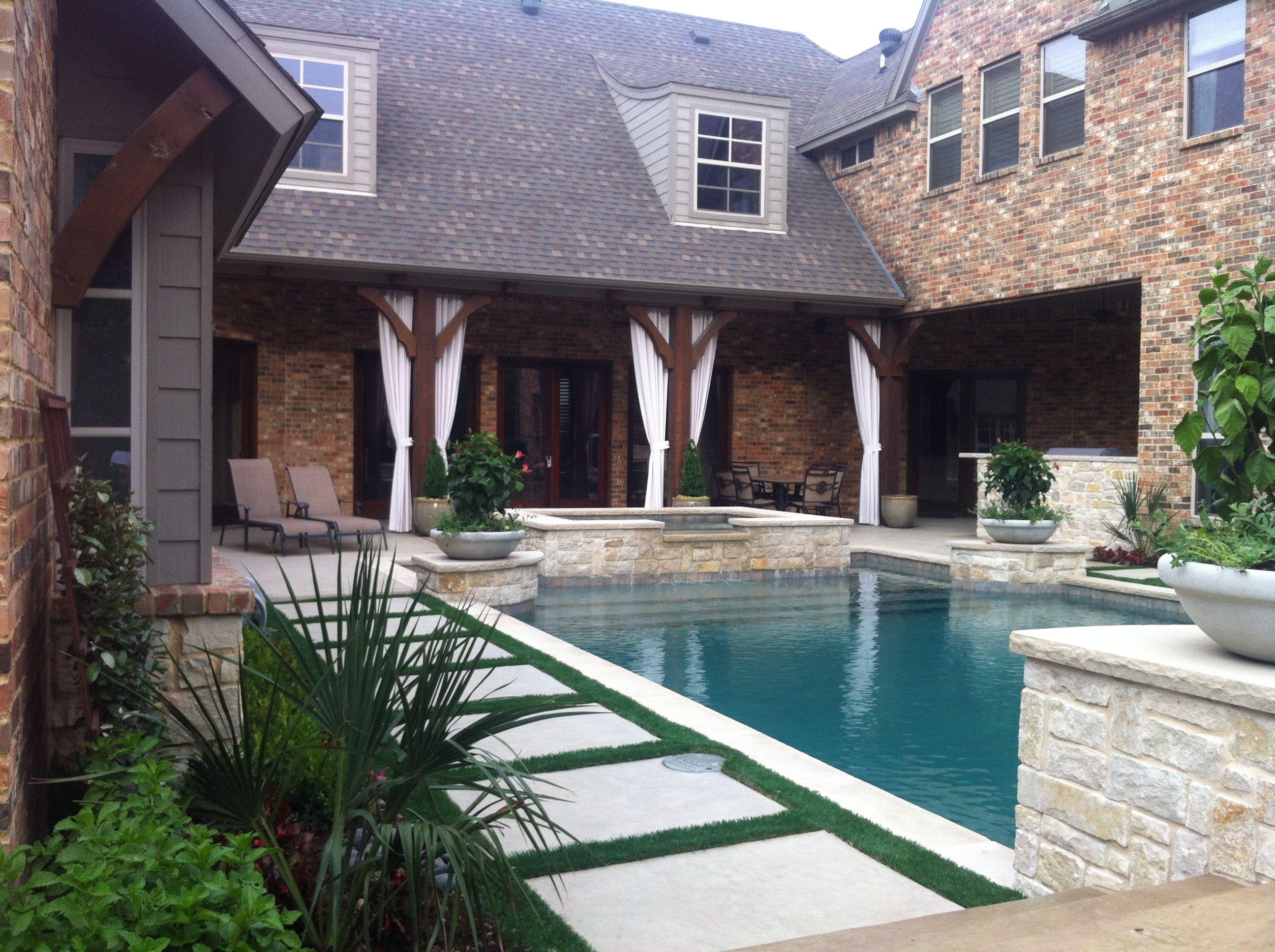 Backyard Pool With Artificial Turf Around Stepping Pads Pool Houses Beautiful Pools Backyard
