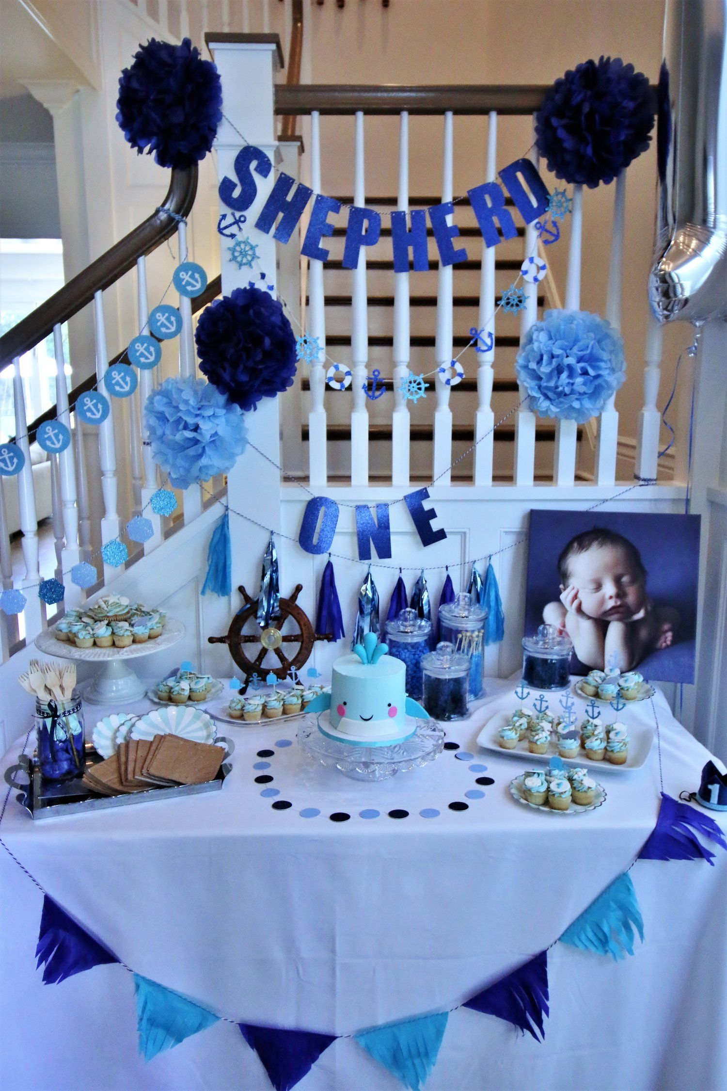 Baby Shepherd S First Birthday More At Www Politeasfudge Com Boy Birthday Decorations First Birthday Decorations Boy First Birthday Decorations
