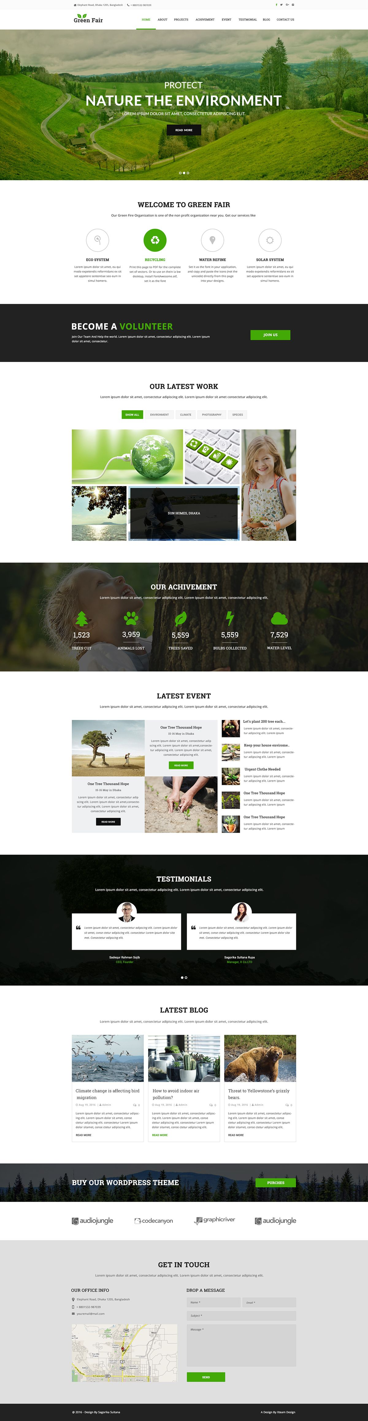 Green Fair Free EcoNatural PSD Template On Behance Site - Web home page template