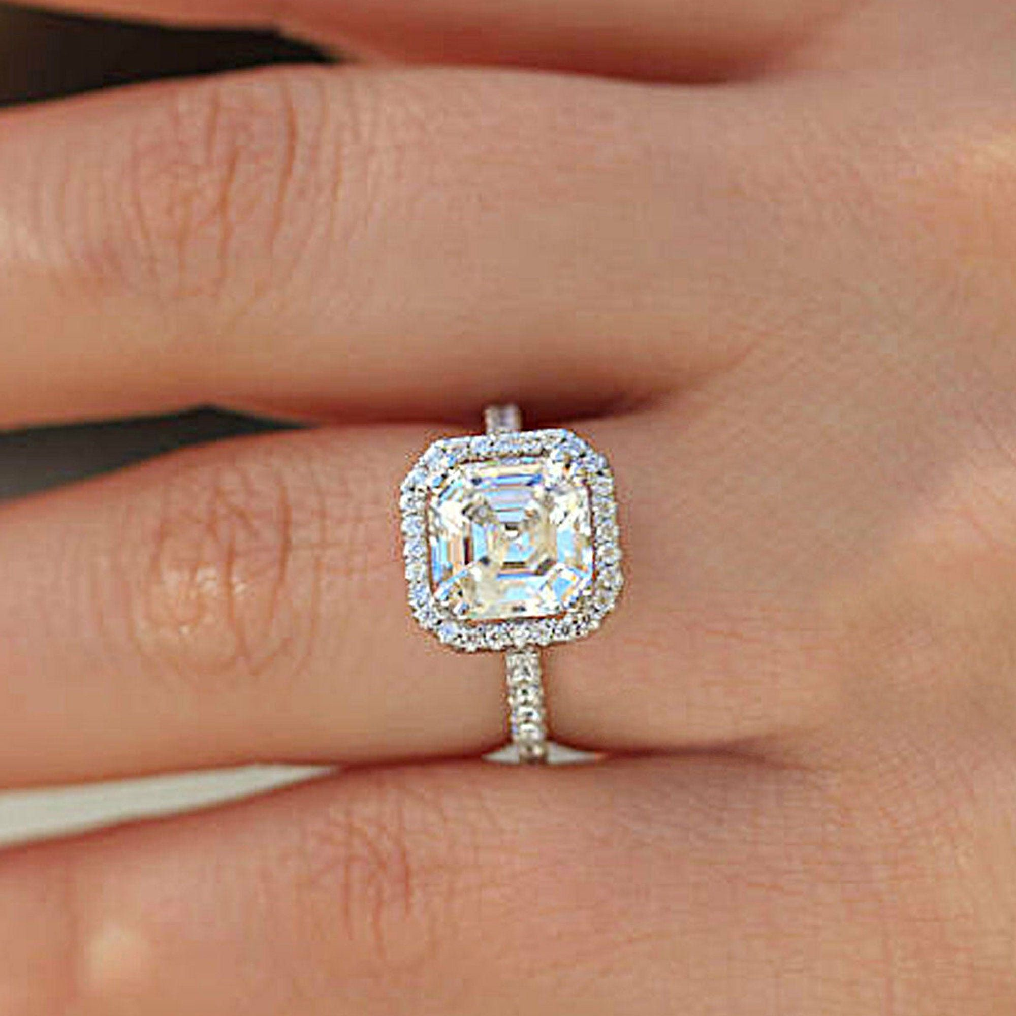 2 7 Carat Asscher Halo Moissanite Diamond Ring 18kt White Gold Ring Wedding Ring Anniversary Ring Engagement Ring Gift For Her Handmade Ring Engagement Ring Gift Diamond Rings Asscher Diamond