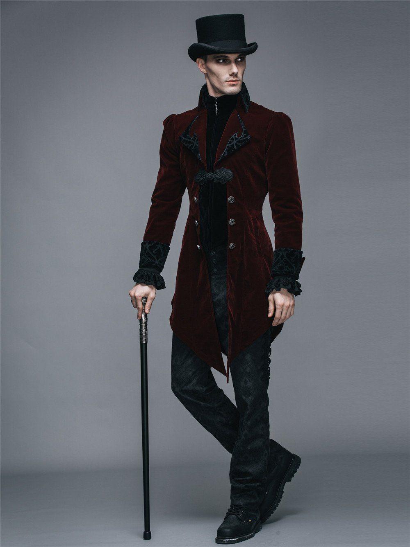 All Sizes Halloween Mens Tailcoat Steampunk Goth Victorian Swalowtail Jacket