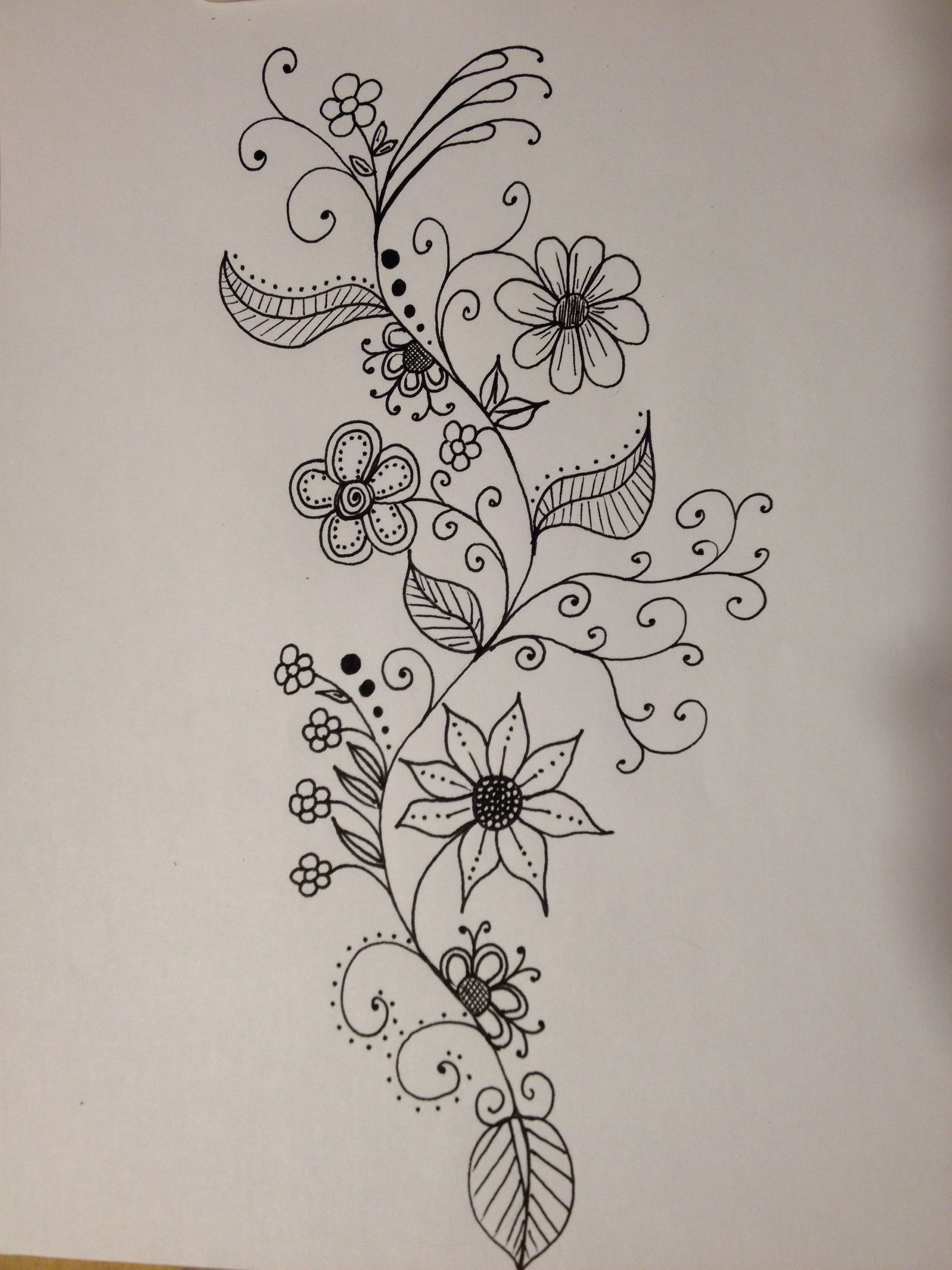 Flower Vine Line Drawing : Vine with flowers … pinteres…
