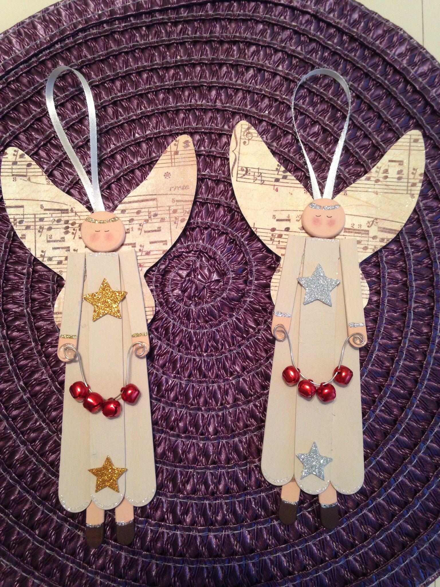 Popsicle stick angels Crafts Pinterest