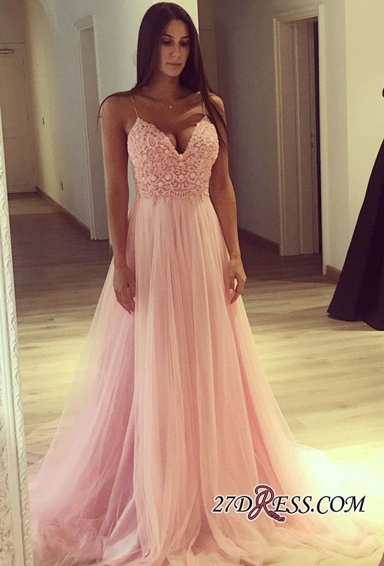 Pink Lace Tulle Long Prom Dress From 27dress.com | Abendkleider ...