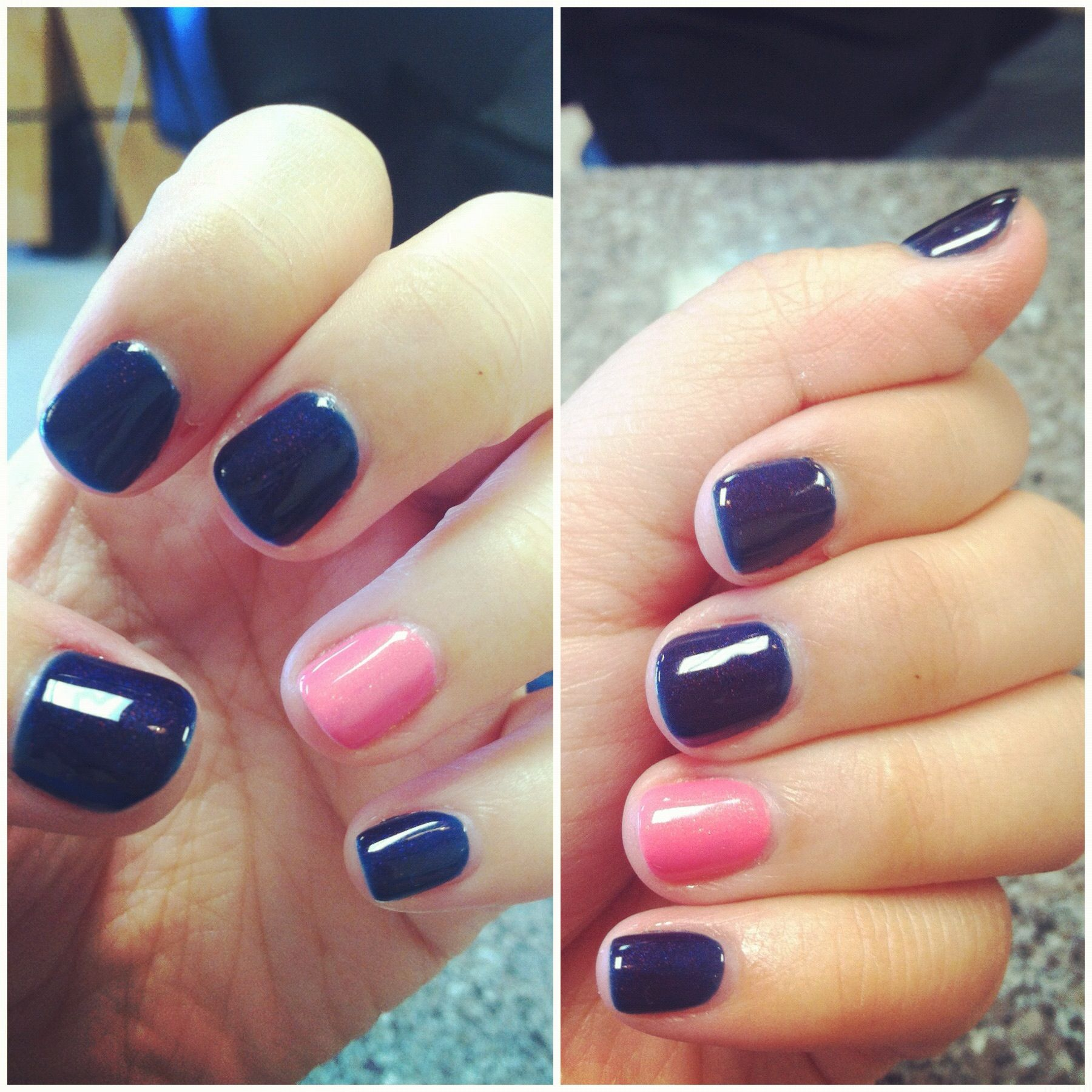 Gel nails. Navy blue with the ring finger for pink! Brest cancer ...
