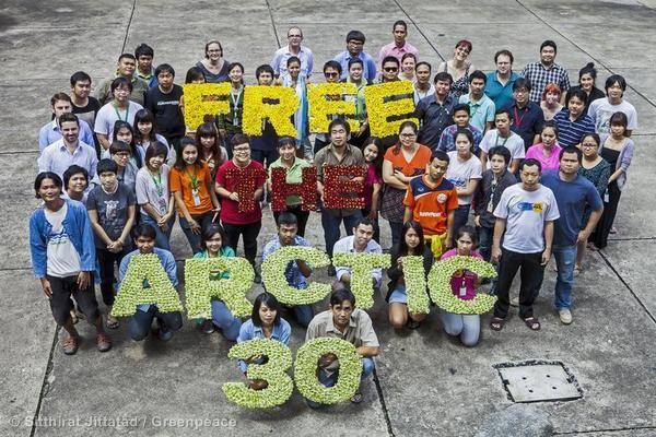 BANGKOK  Vos también podés sumarte al pedido. Pedí que Liberen a los activistas: http://grpce.org/H8R1rh  © Sitthirat Jittatad / Greenpeace