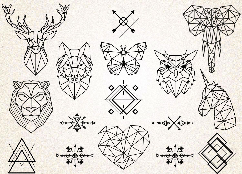 Geometrische Tatoeages Clipart Meetkundige Dieren Clipart Dieren Tekening Tribal Symbolen Meetkundige Tattoo Svg 300ppi Png Jpg Eps Animaux Geometrique Tatouage Geometrique Dessin Origami