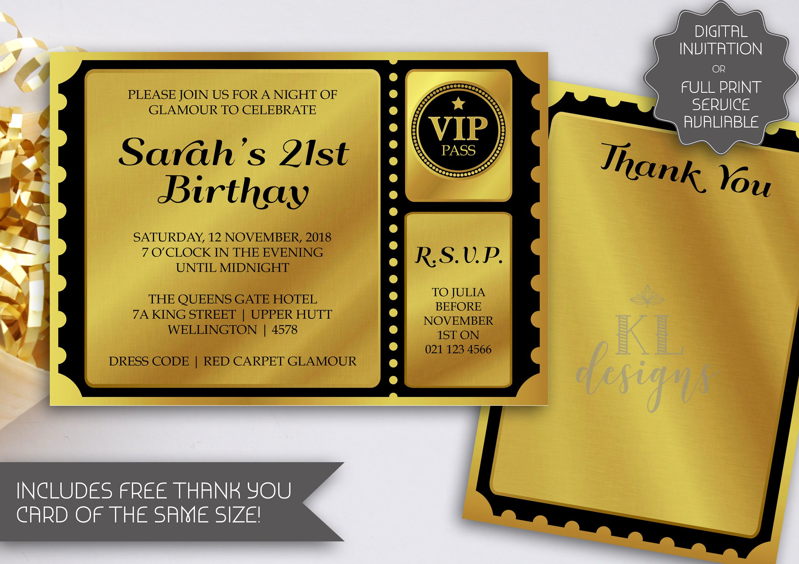 Golden Ticket Birthday Invitation | Printable Invitation | Ball ...