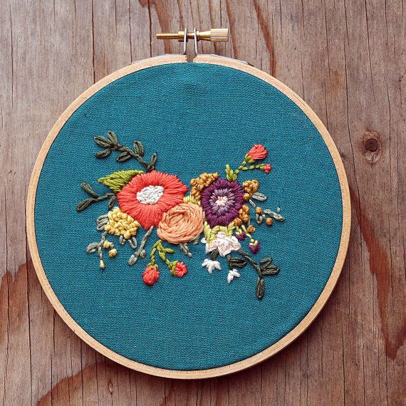Displayed In This Embroidery Hoop Is A Fantastic: RESERVED For Lindsay (Floral Bouquet Embroidery Hoop Art