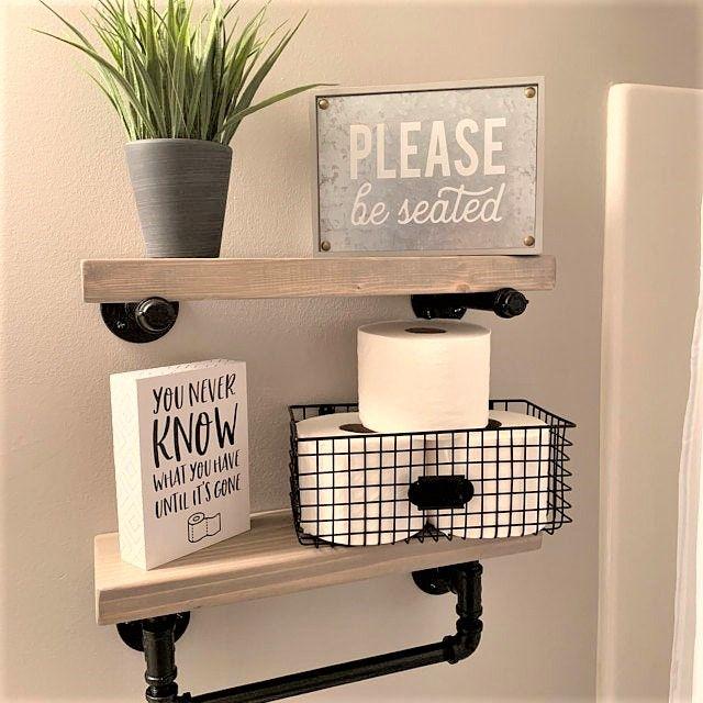 Towel Bar Set Towel Bar With Floating Shelf Bathroom Floating Shelves Near Lawrence In 2020 Floating Shelves Bathroom Towel Bar Reclaimed Wood Shelves