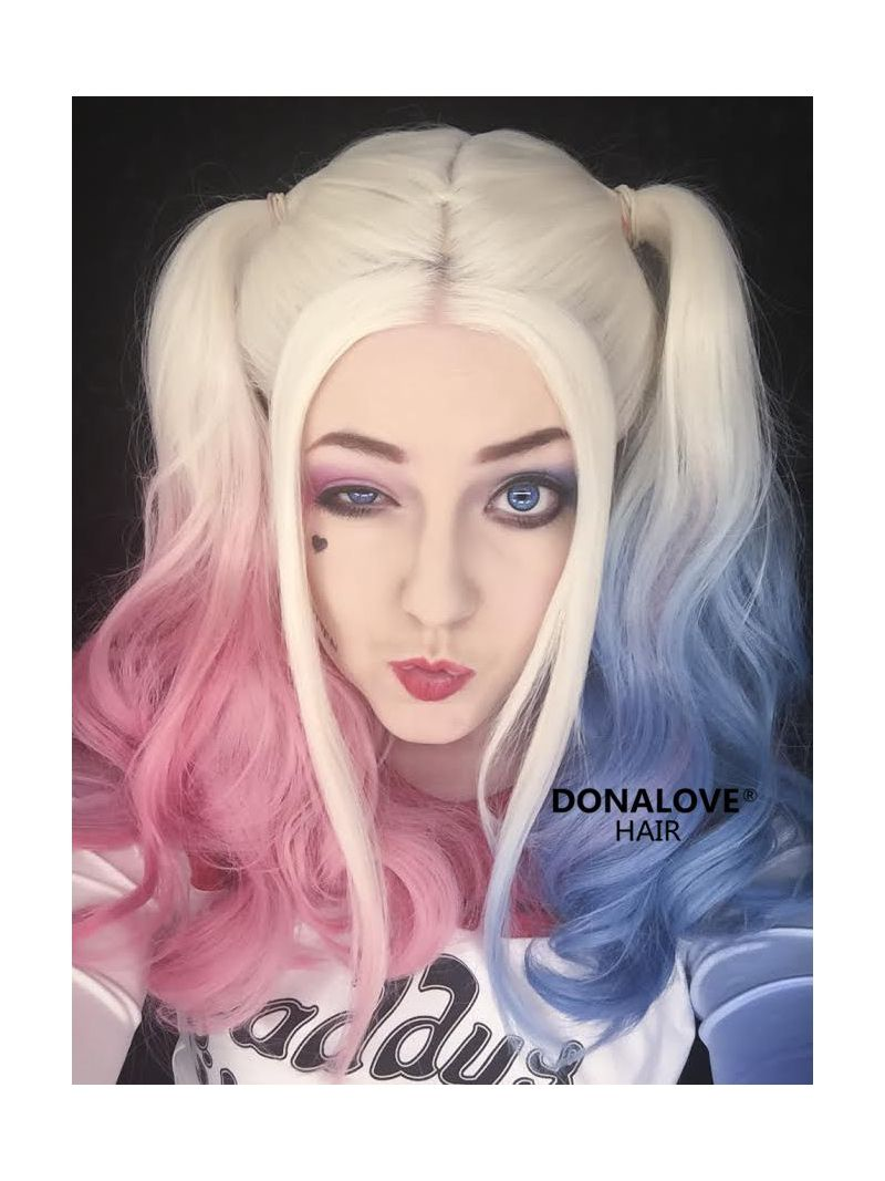 Harley quinn inspired half pink half blue lace front synthetic wig