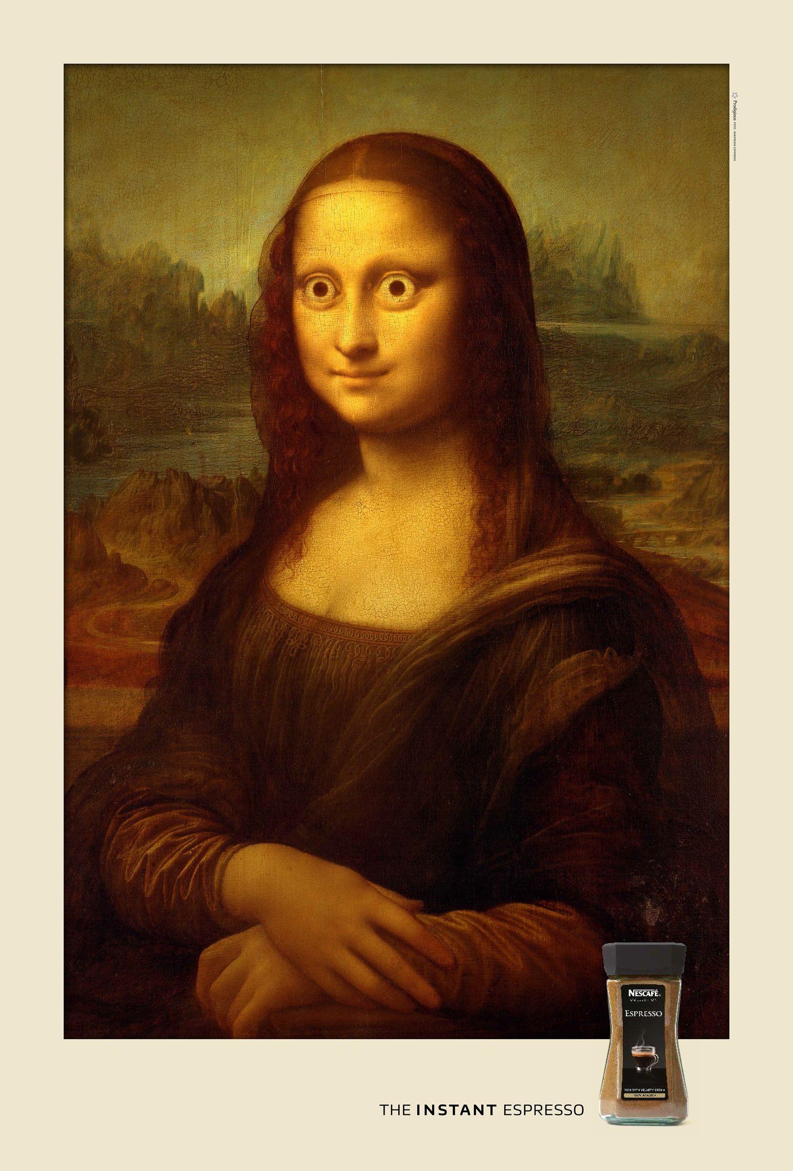 Amüsante Nescafé Werbung mit einer überaus wachen Mona Lisa