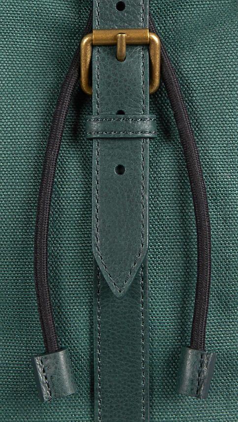 가죽 트림 어두운 경주 녹색 리넨 캔버스 가방 - 이미지 (6)