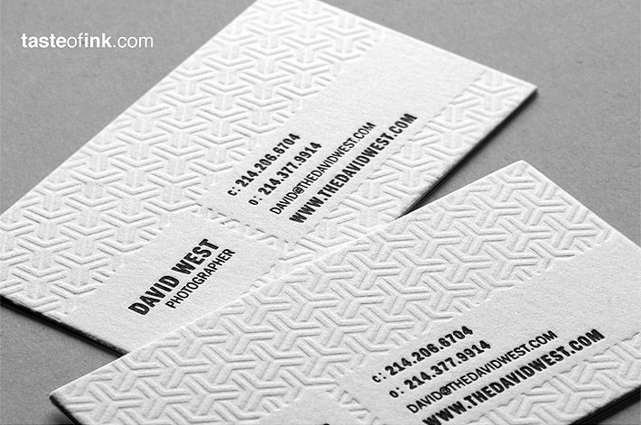 Letterpress business cards graphic design google zoeken branding cool letterpress cotton business card for photographer david west colourmoves Gallery