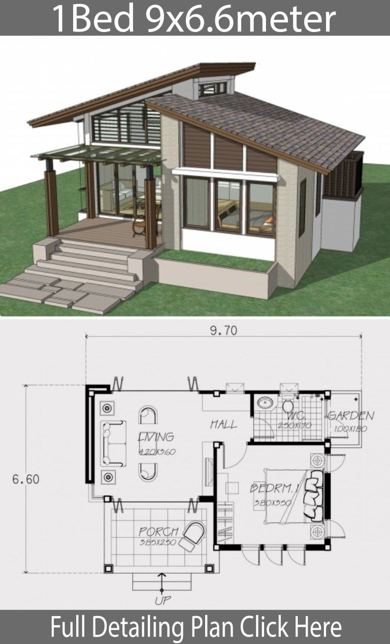 Small Home Design Plan 9x6 6m With One Bedroom Home Design With Plan Small House Style One Bedroom House Modern Bungalow House