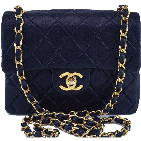 09b2e1d64f4dc9 Pre-Owned Chanel Navy Blue Classic Quilted Square Mini 2.55 Flap Bag found  on Polyvore featuring bags, handbags, navy blue, chanel crossbody, ...