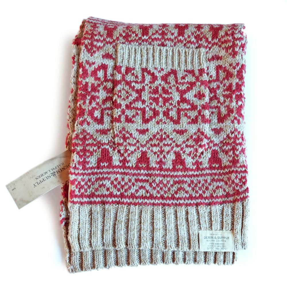 07928a5db4e ... germany ralph lauren wool blend fair isle scarf with 2 hand pockets red  beige. bnwt