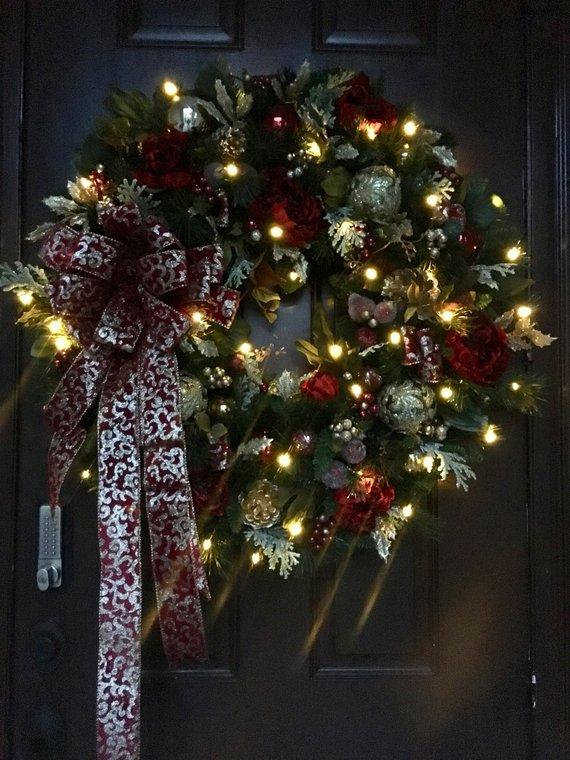 Black Friday Burgundy and Gold Christmas Wreath 34