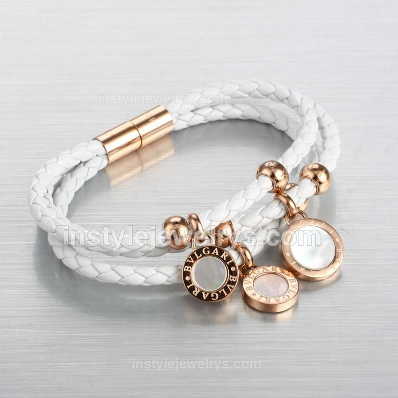 bvlgari white braided calfskin leather bracelet with rose gold plated hardware
