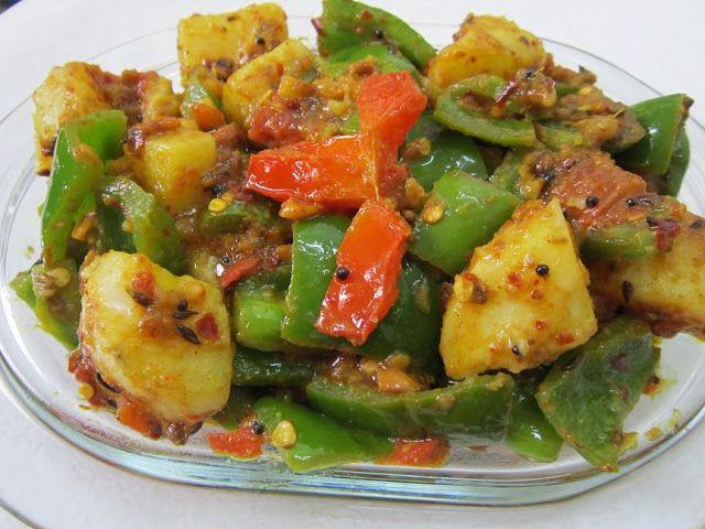 Shimla Mirch Aloo Ki Sabzi Curry Recipes Aloo Recipes Potato Curry
