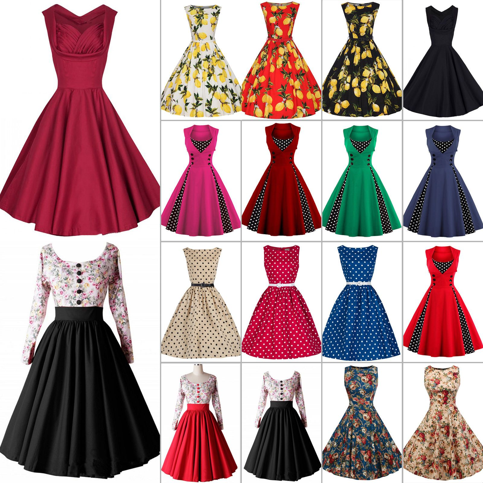 Damen Rockabilly Retro Swing Petticoat Hepburn Partykleider