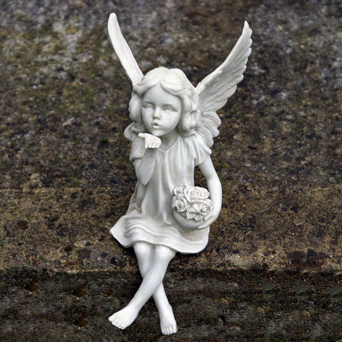 Fairy Sitting And Blowing A Kiss Garden Fairies Statue