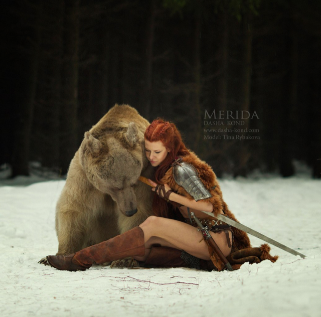 BRAVE Cosplay Model Faces Snow...and a Big Ol' Bear