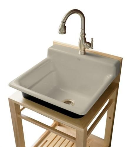Kohler K 6608 1p G9 Bayview Wood Stand Utility Sink With Single