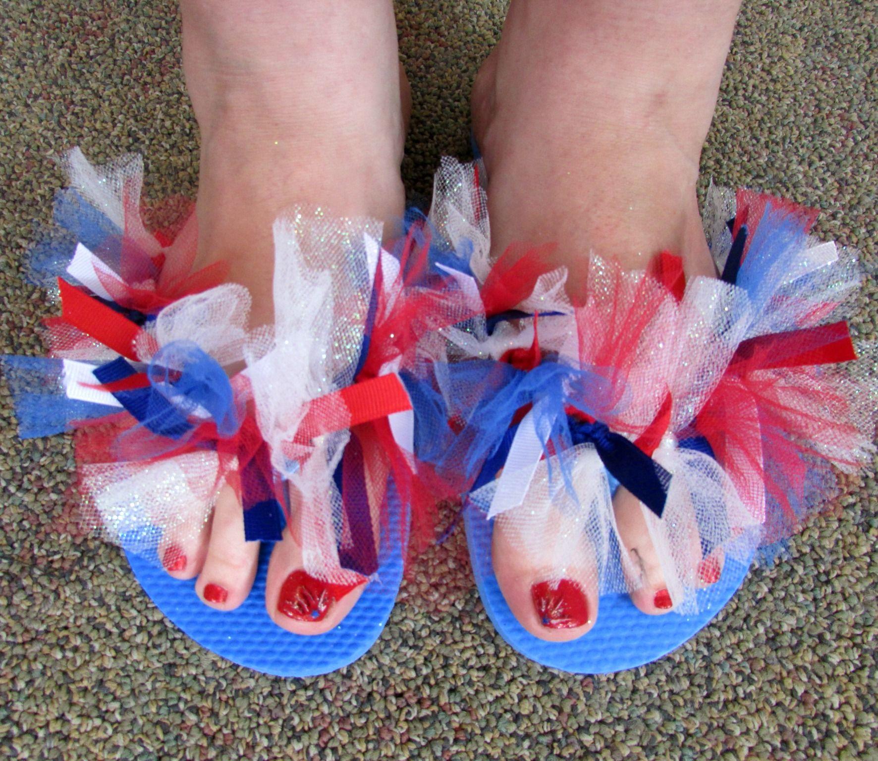2045d77ff DIY tulle and ribbon flip flops. For the team flip flops