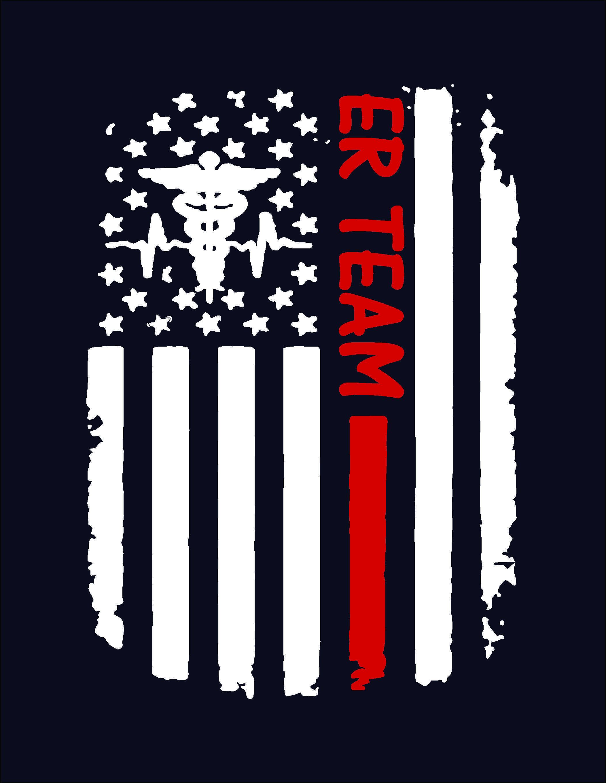ER Team distressed American flag custom nurse shirt, Design on back, Emergency nurse, trauma nurse, RN, LPN, Nurse shirt, nurse gift