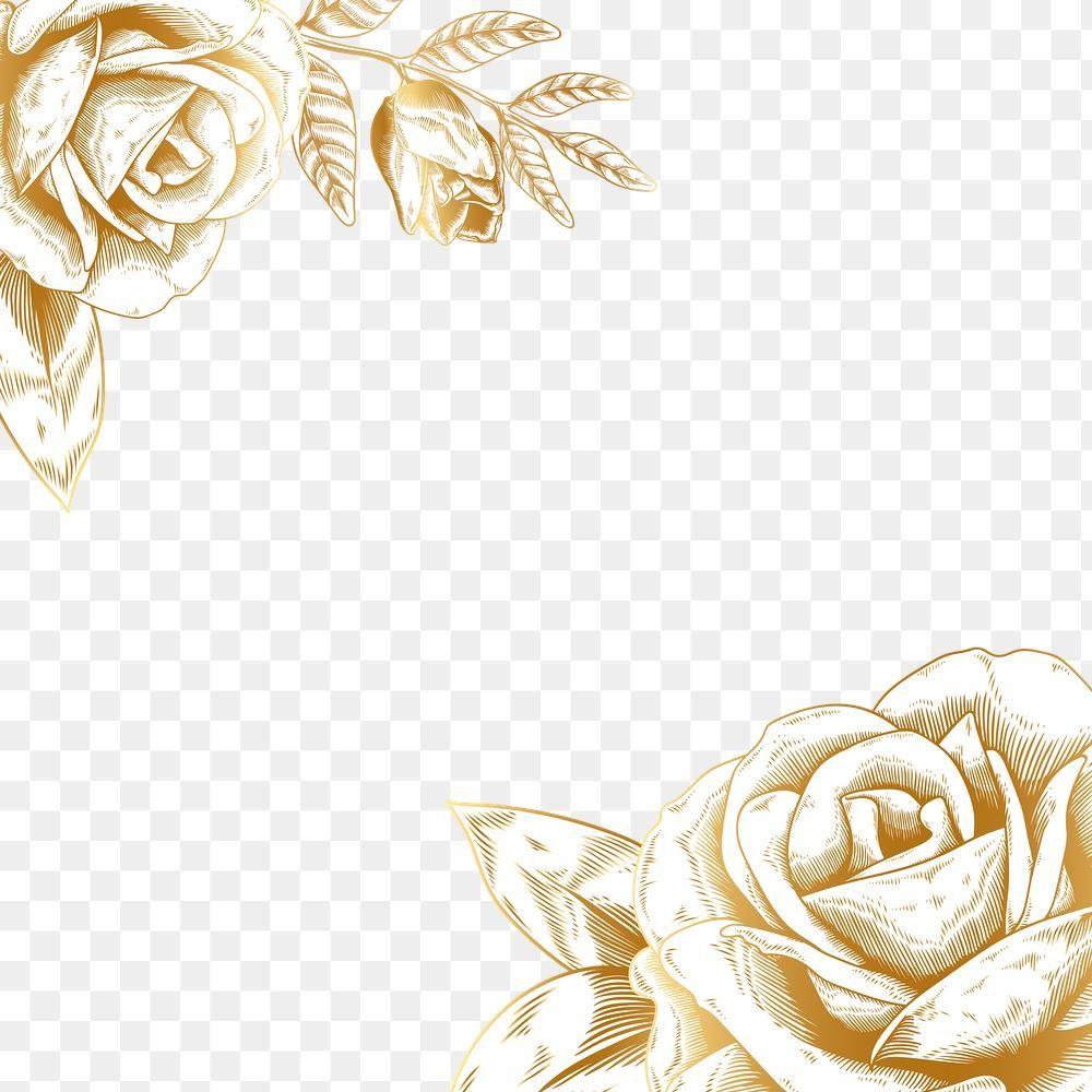 Hand Drawn Gold Rose Border Design Element Premium Image By Rawpixel Com Aum Gold Border Design Border Design Design Element