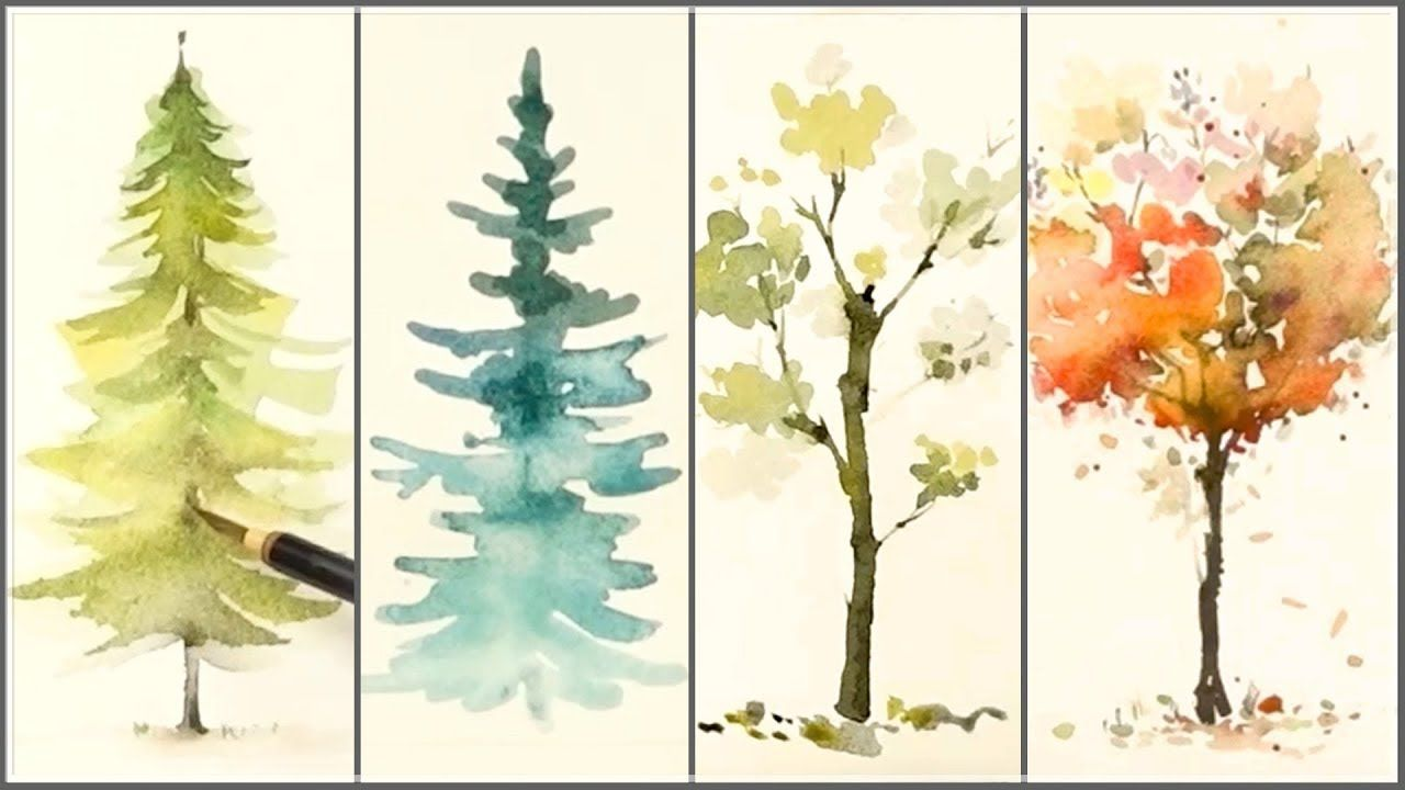 How To Paint 4 Different Trees For Beginners Easy Watercolo