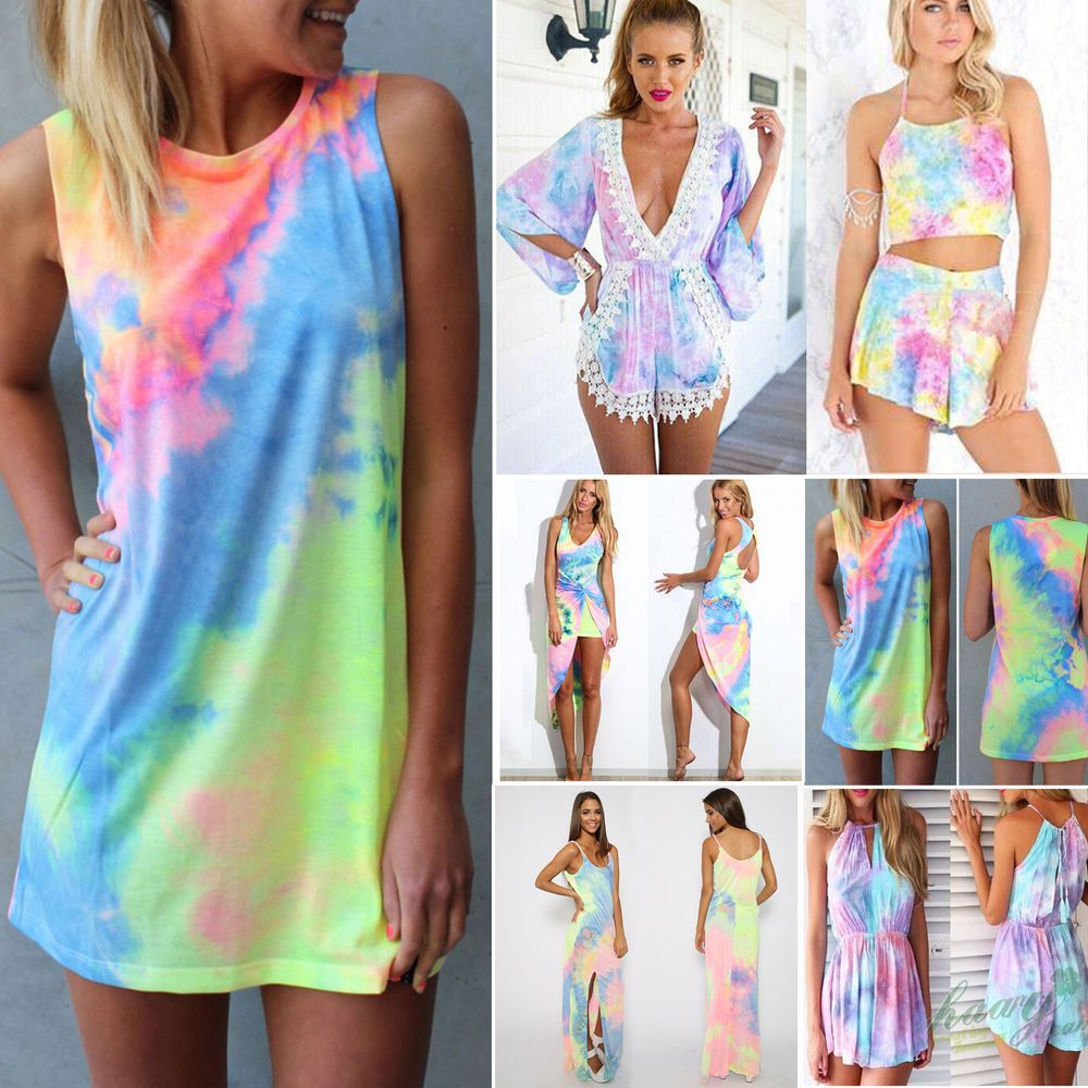 Sexy Women s Tie-Dye Festival Holiday Party Rainbow Dresses Boho Casual  Playsuit 7b0f5c622