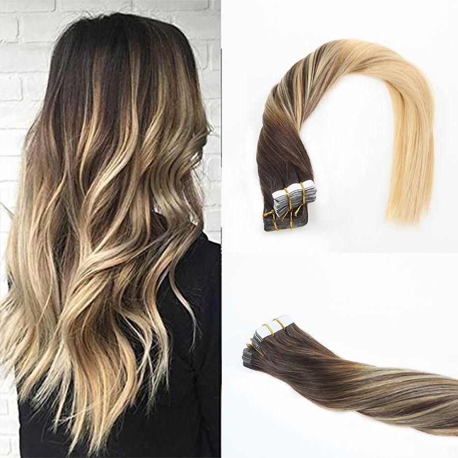 Balayage Tape In Remy Hair Extensions Middle Brown Mixed Bleach