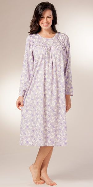 Long Sleeve Nightgown By Calida 100 Cotton Knit In Lavender Garden Night Dress Night Gown Cotton Nighties