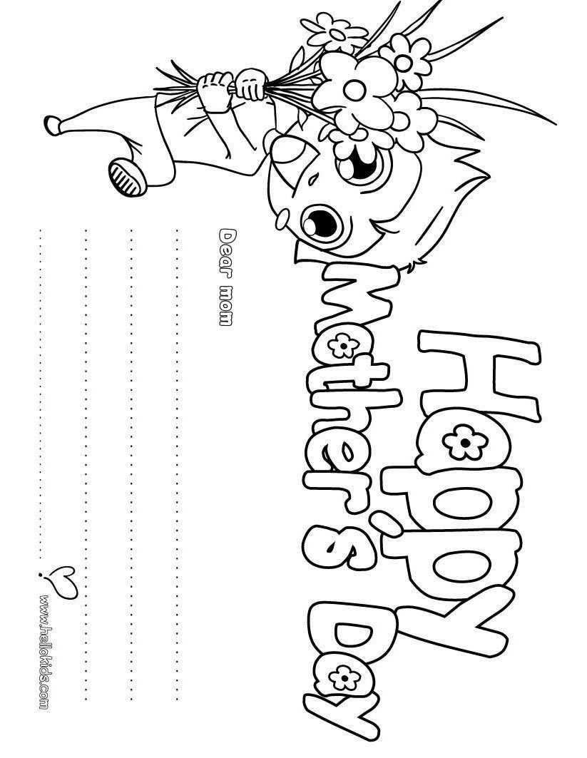 Free printable coloring pages mothers day - Let Your Imagination Soar And Color This Happy Mother S Day Greeting Card Coloring Page With The Colors Free Printable