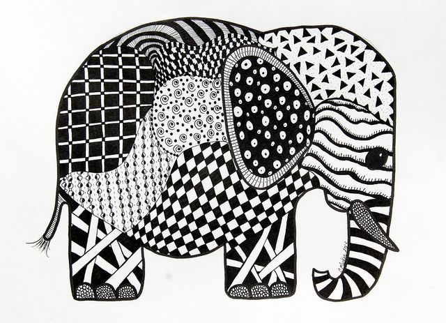 I Am Totally Facinated With Zentangles. Elephant Zentangle