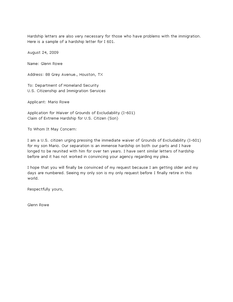 Extreme Hardship Letter Sample from i.pinimg.com