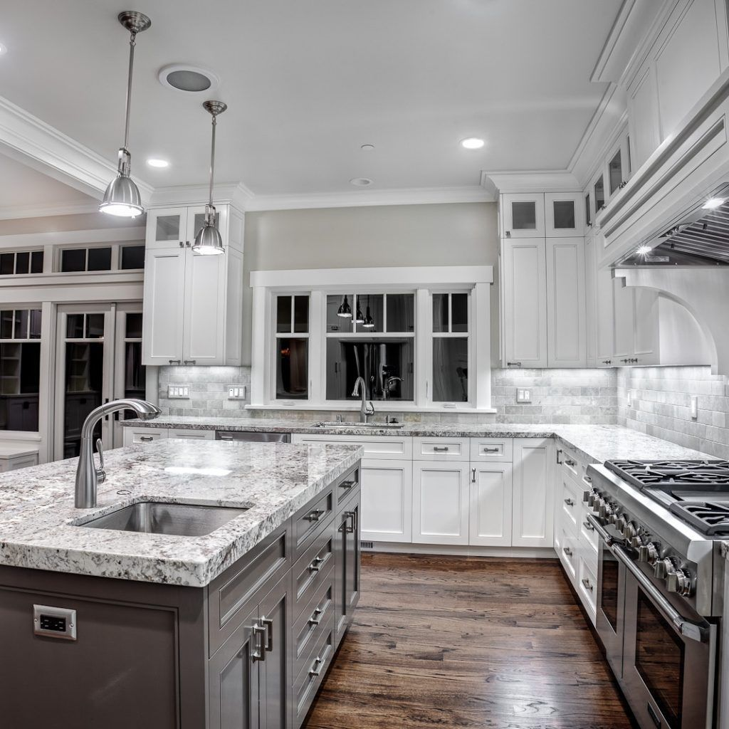 White Kitchen Cabinets Light Floor: White Kitchen Cabinets With Granite #kitchenremodeling