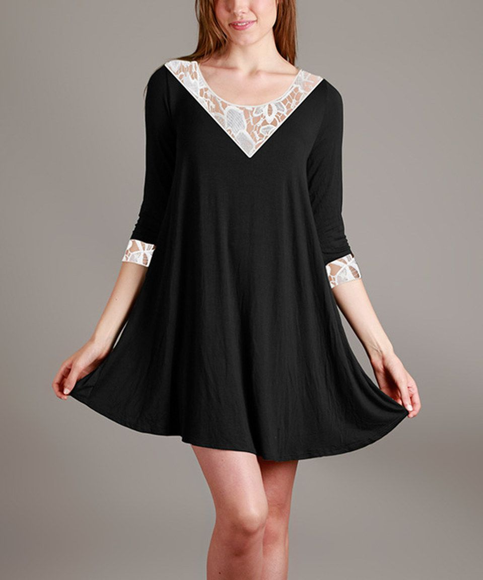 Take a look at this Black & White Lace-Detail Shift Tunic - Plus today!