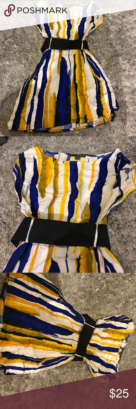 Blue Yellow And White Striped Dress Super Cute Blue Yellow And White Dress With A Black Belt In The Middl White Striped Dress Striped Dress Clothes Design [ 1740 x 580 Pixel ]