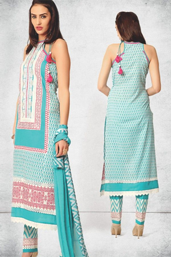 Halter neck printed kurti and skinfit bottom.