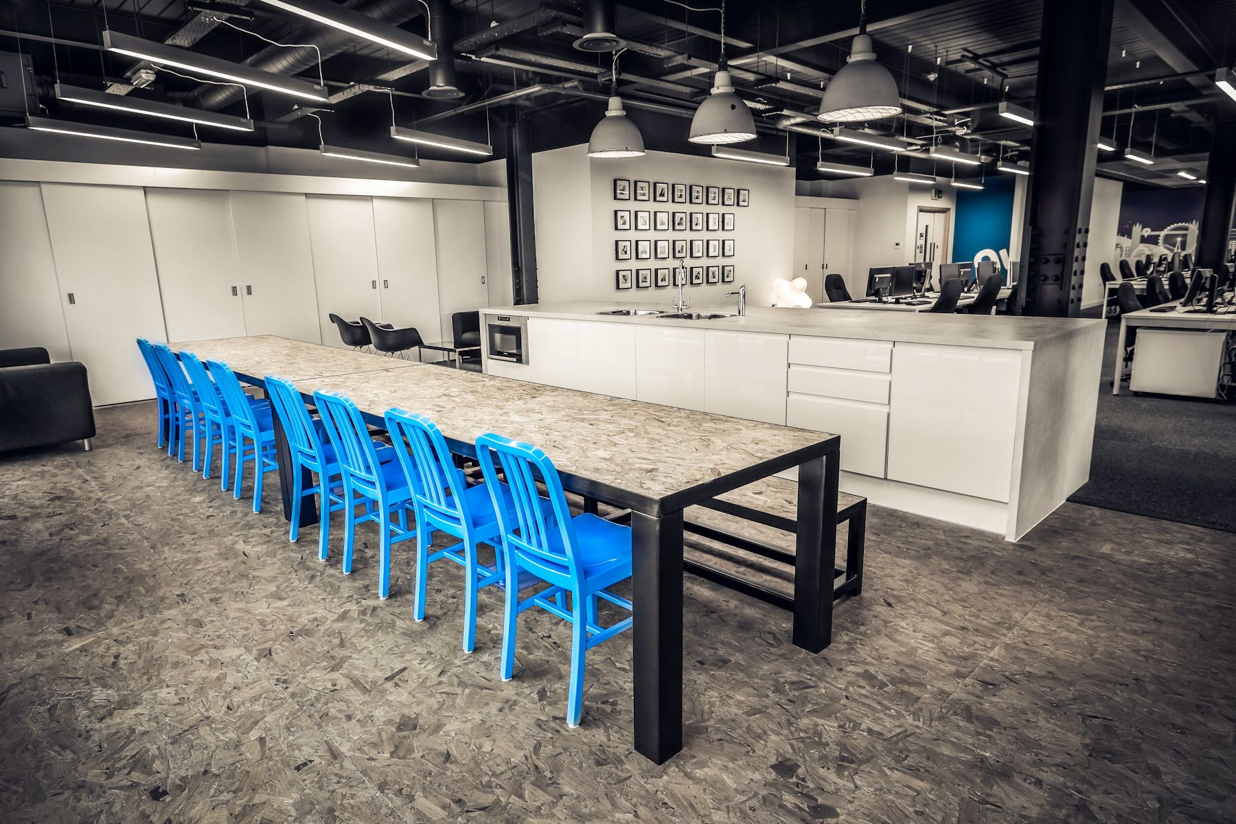 Quidco Office Hub Area With Custom Steel Frame Table And Benches OSB Top