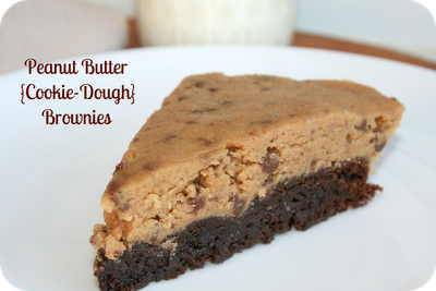 Peanut Butter Chocolate Chip {Cookie-Dough} Brownies via French Press - oh my!
