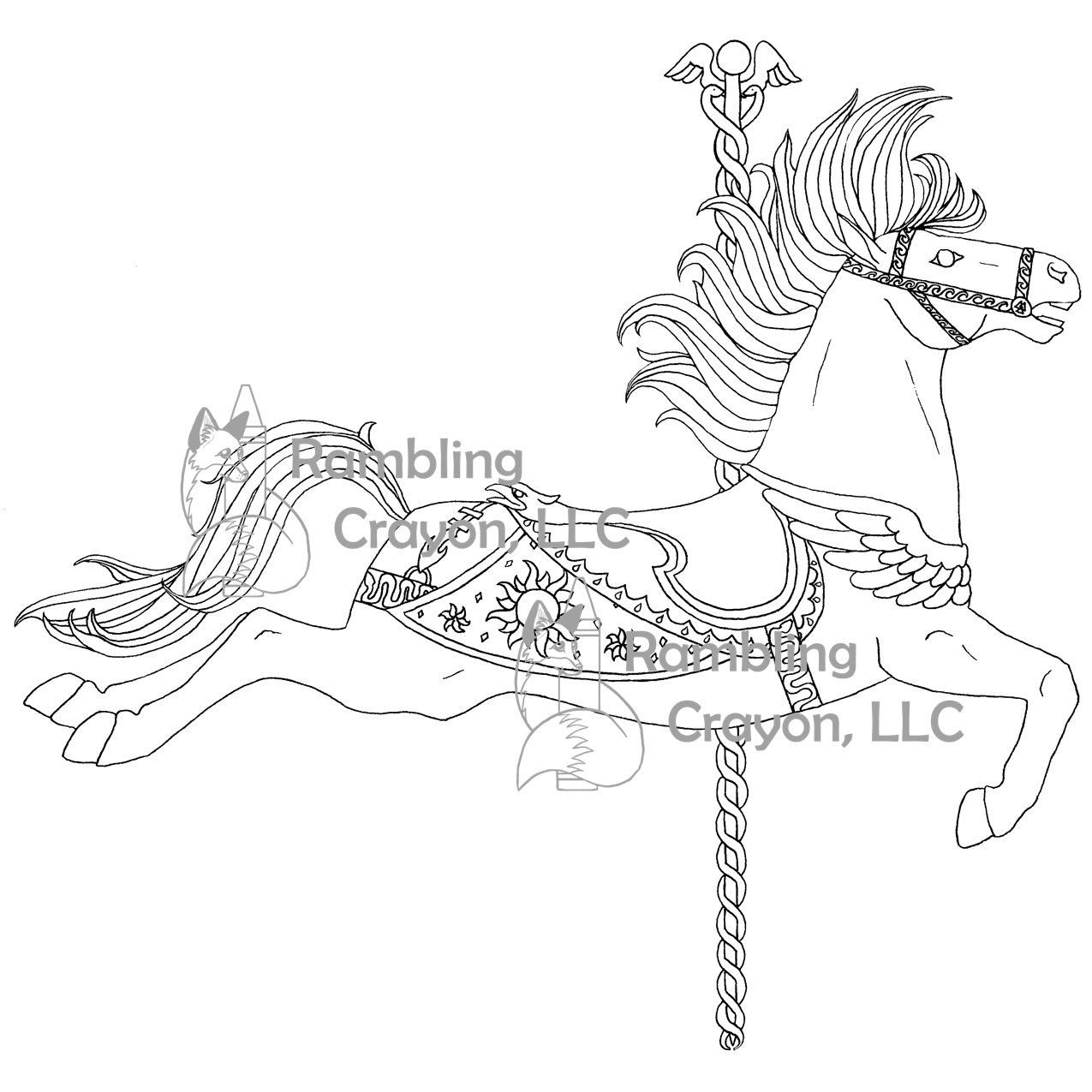 """A coloring page from """"Carousel Horses,"""" available HERE ..."""