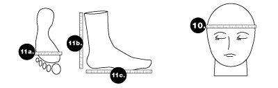 Medidas estándar para gorros y calcetines