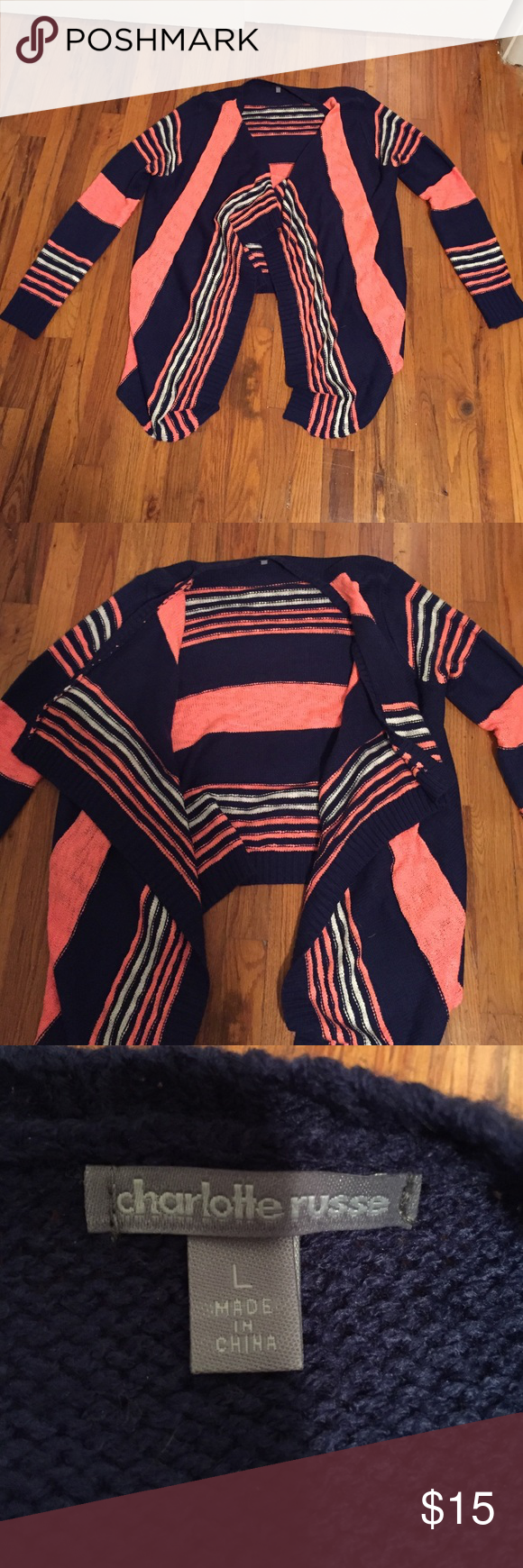 Charlotte Russe Navy and Choral Open Front Sweater Charlotte Russe Open Front Sweater. Never worn. Drapey front, longer than back. Size Women's L. Charlotte Russe Sweaters Cardigans
